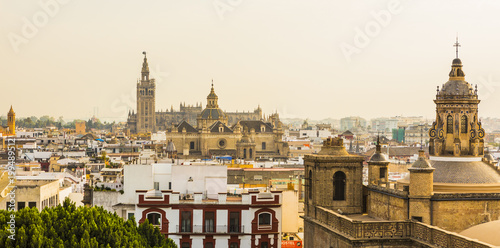The view of the city and Seville Cathedral from the top of Metropol Parasol, Seville, Andalucia, Spain, Europe