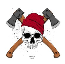 Skeleton Of A Lumberjack With Axes. Vector Illustration