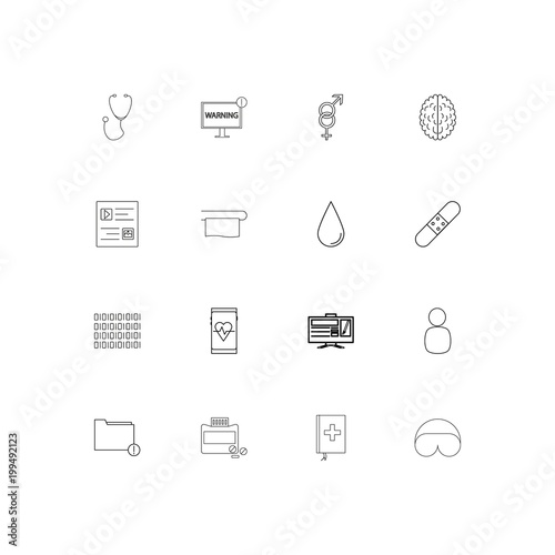 Fotografie, Obraz  Healthcare And Medical simple linear icons set