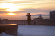 Photographer taking picture of beautifull sunset in Montreal