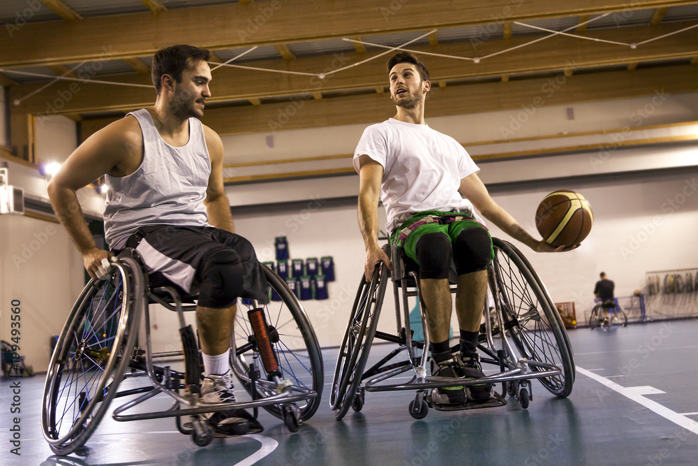 Fototapety, obrazy: disabled sport men in action while playing basketball