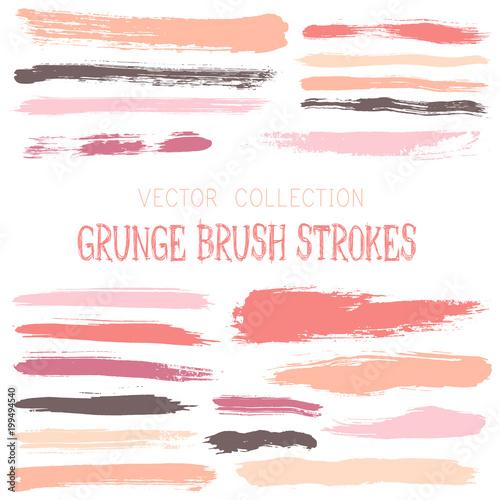 Pink Paint Brush Strokes Vector Band Color Scheme Vintage Elements Graphic Design Set