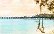 View on swing on tropical beach on Koh kood island - Thailand