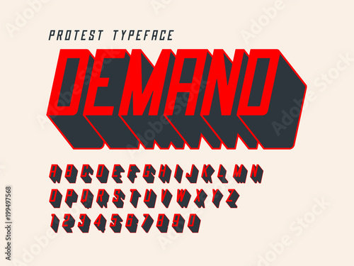 Protest display font design, alphabet, character set, letters and numbers Wallpaper Mural