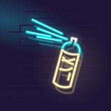 Neon Spray Can. Night Illuminated Wall Street Sign. Isolated Geometric Style Illustration On Brick Wall Background.