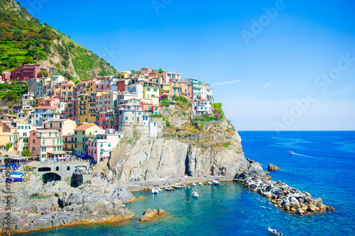 Beautiful view of the amazing village of Manarola in the Cinque Terre reserve Canvas-taulu