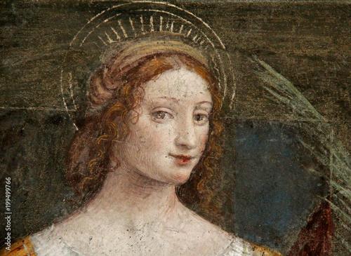 Fotografie, Obraz  Santa Lucia; affresco di Bernardino Luini