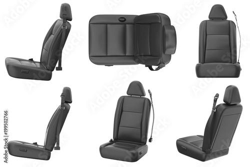 Fényképezés Car seat comfortable black leather set. 3D rendering