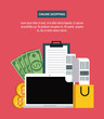 Online shopping with bitcoins from laptop vector illustration graphic design