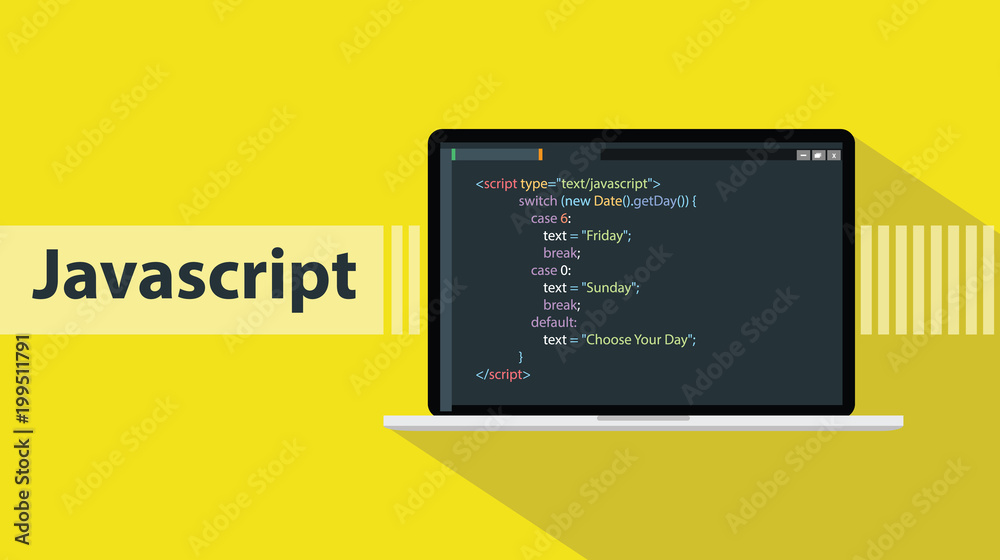Fototapety, obrazy: javascript programming language with script code on laptop screen