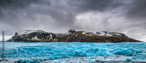 Poster Glaciers Panorama of Skaftafell glacier, Vatnajokull National Park in Iceland.