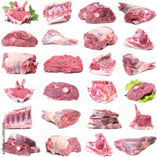 Montage in der Fensternische Fleisch Mutton meat