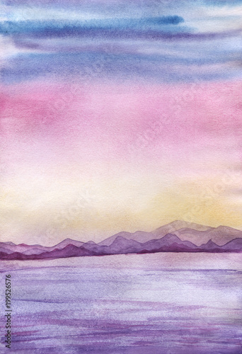Poster Rose clair / pale Sunset landscape with sea and mountains, in a pink, blue, yellow, violet, lilac pastel background colors. Hand drawn real watercolor illustration.