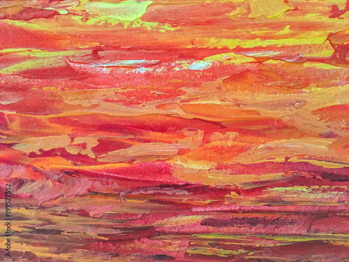 Poster Rijstvelden Abstract art background red and orange colors.