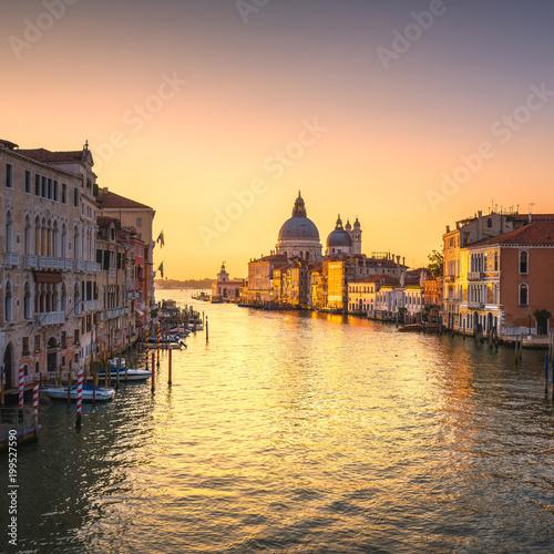 Venice grand canal, Santa Maria della Salute church landmark at sunrise. Italy