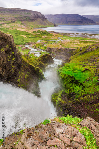 Garden Poster Forest river Waterfall Dynjandi and river in summer, Iceland