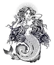 Beautiful Mermaid Girl With Fa...