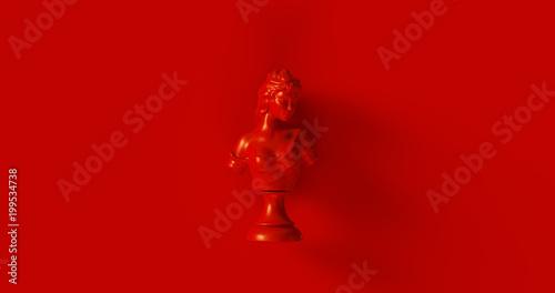 Foto  Red Bust Sculpture 3d illustration