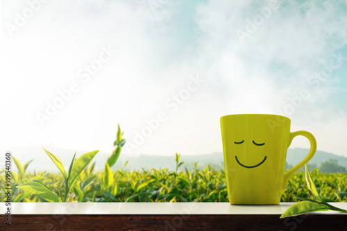 Happy and Relaxation Concept. A Cup of Hot Tea with Smiley Face on Table in front of Green Tea Plantaion Farm, Mountain with Mist as background