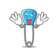 Crazy safety pin mascot cartoon