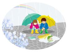 Rainy Scene Clip Art - Playful Two Children  梅雨の風景 クリップアート- 2人の子供