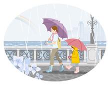 Rainy Scene Clip Art - Mother And Child  梅雨の風景 クリップアート- 母親と子供