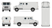 Armored Truck Vector Mock-up. Isolated Template Of Armor Van On White. Vehicle Branding Mockup. Side, Front, Back, Top View. All Elements In The Groups On Separate Layers. Easy To Edit And Recolor.