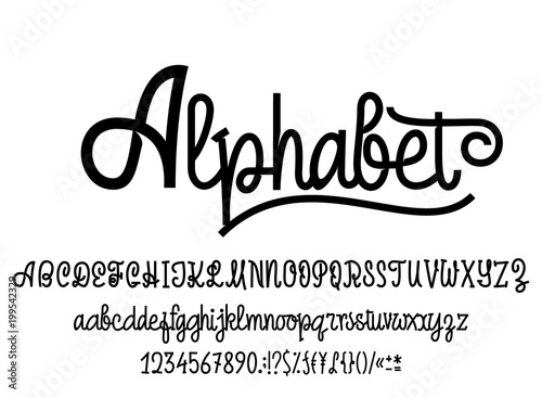 Latin alphabet  Font handwriting with upper and lowercase characters