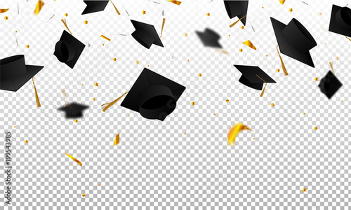 Foto Graduate caps and confetti on a transparent background