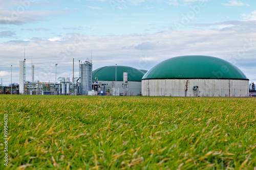Bio gas plant in a field Canvas Print