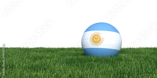 Fotografía  Argentinean Argentina flag soccer ball lying in grass, isolated on white background