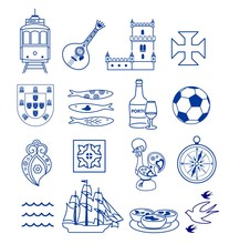 Portugese Icon Set Vector