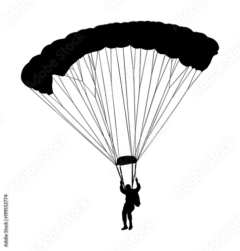 Parachutist in flight vector silhouette illustration isolated on white background Wallpaper Mural