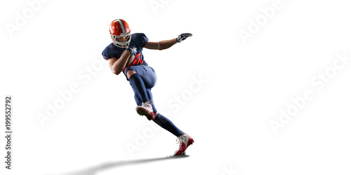 Fotografie, Obraz  Isolated American football player in white background