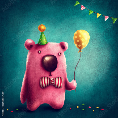 Fotografie, Obraz  Pink bear and balloon