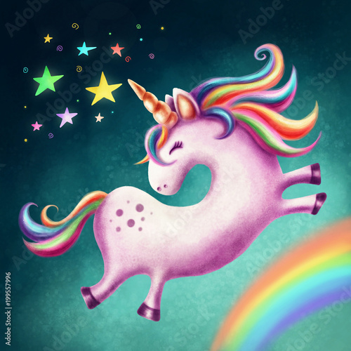 Obraz na plátně  Cute unicorn