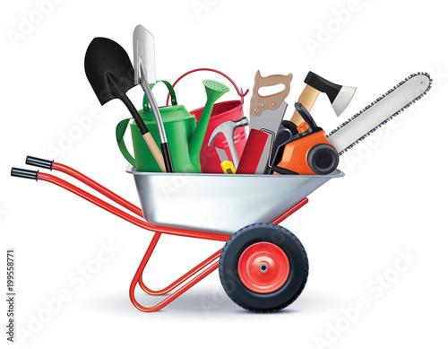 Fototapeta Wheelbarrow with Garden Accessories. all in one concept. Realistic 3d illustration obraz