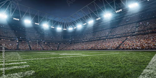Dramatic 3D professional American football arena with green grass and rays of li Canvas-taulu