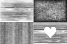 Homely Grey Fabric And Wooden Material Horizontal Background Set.