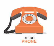 Orange Vintage Telephone Isola...