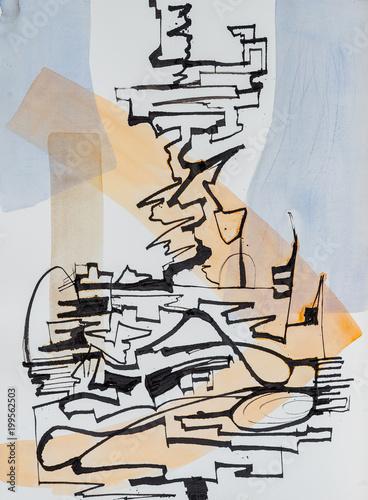 abstrakcyjny-wzor-kaligraficzny-z-niebieskim-i-zoltym