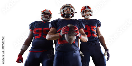 Isolated American football players in white background Canvas Print