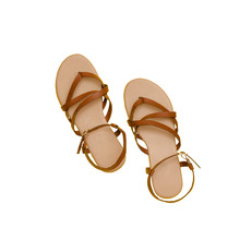 Brown Sandals.  Fashionable Concept. Isolated. White Background