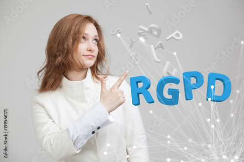 Papiers peints Statue RGPD, Spanish, French and Italian version version of GDPR: Reglamento General de Proteccion de datos. General Data Protection Regulation. Young woman working with information.
