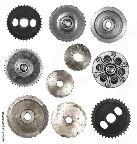 Photo  Set metal gears isolated on white, design element
