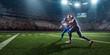 Leinwanddruck Bild - American football players preforms an action play in professional sport stadium