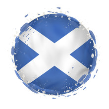 Round Grunge Flag Of Scotland ...