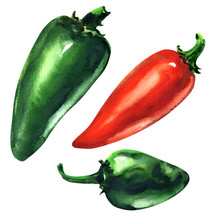Set Of Green, Red Hot Chili Pe...