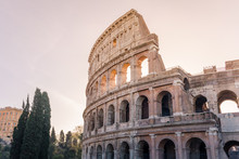Colosseum In Rome And Morning ...