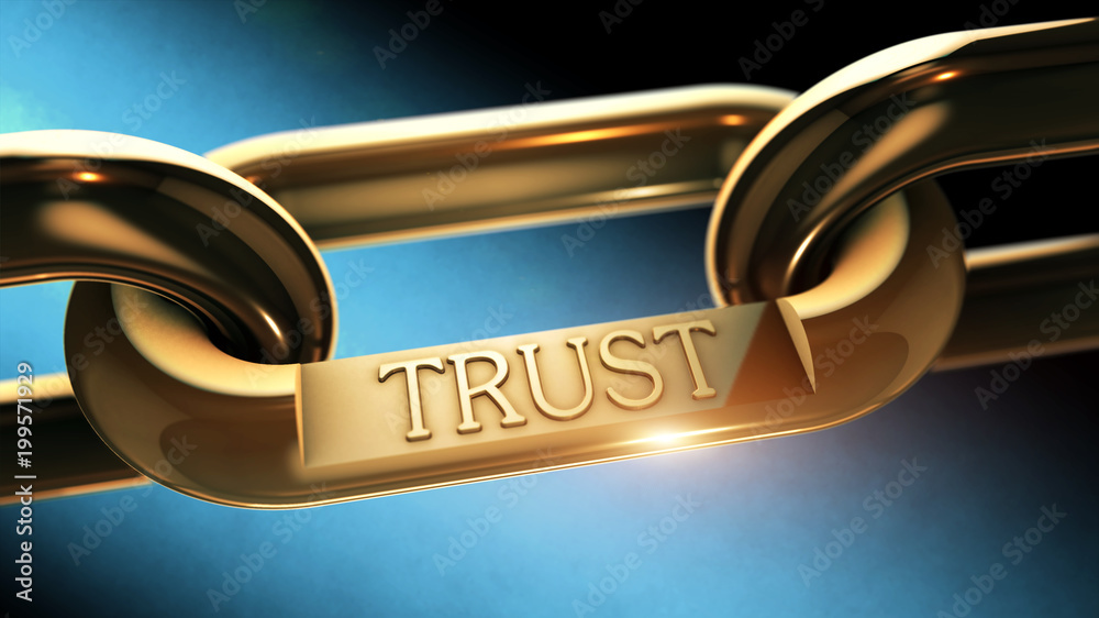 Fototapeta Trust word as symbol in chrome chain